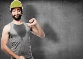 Proud builds worker — Stock Photo