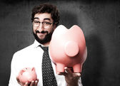 Podnikatel s prasátko — Stock fotografie