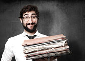 Fool businessman with archives — Stock Photo
