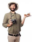 Crazy explorer man with plane — Stock Photo