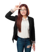 Happy chinese woman loser sign — Stock Photo