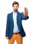 Happy businessman stop gesture — Stock Photo