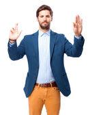 Happy businessman swearing sign — Stock Photo