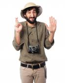Crazy explorer man swearing sign — Stock Photo