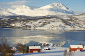 Winter view to Lavangen fjord and Soloy village, Troms county, Norway. — Foto Stock