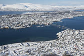 Aerial view to the city of Tromso, 350 kilometers north of the Arctic Circle, Norway. — Stock Photo