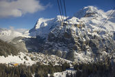 Winter mountain view to Murren, Bernese Oberland, Switzerland. — Stock Photo