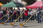 Men perform music with alpenhorns in Affoltern Im Emmental, Switzerland. — Stock Photo