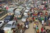 Traffic jam at the central part of the city in Dhaka, Bangladesh. — Stock Photo