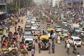 Busy traffic at the central part of the city in Dhaka, Bangladesh. — Stock Photo