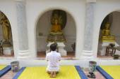 Man prays in from of the Buddha statue in Nakhom Pathom, Thailand. — Stockfoto