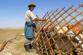 Mongolian man assembles wooden frame of a yurt (ger or nomadic tent) in steppe circa Harhorin, Mongolia. — Stock Photo