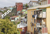 View to the poor residential area and closed funicular in Valparaiso, Chile. — Stock Photo