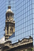 Reflection of the Cathedral of Santiago in modern windows, Chile. — Stock Photo