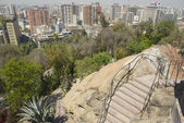 View to the central part of the Santiago city from the Santa Lucia hill fortress in Santiago, Chile. — Stock Photo