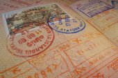 Passport page with Turkey visa and immigration control stamps. — Stock Photo