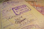 Passport page with transit Kenyan visa and immigration control stamp. — Stock Photo