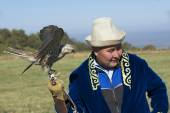 Man holds falcon, circa Almaty, Kazakhstan. — Stock Photo
