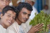 Men sell khat at the local market in Lahij, Yemen. — Stock Photo