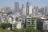 Exterior of the downtown Macau residential buildings in Macau, China. — Stock Photo