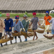 People work at the salt farm in Huahin, Thailand. — Stock Photo #64371071