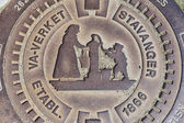 Exterior of the decorated sewer manhole in Stavanger, Norway. — Stock Photo