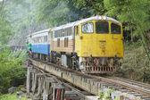 Vintage locomotive passes Death railway in Kanchanaburi, Thailand. — ストック写真
