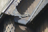 Exterior detail of the Hopperstad stave church in Vik, Norway. — Foto de Stock