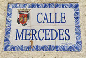 Exterior of the vintage street name sign in Santo Domingo, Dominican Republic. — Stock Photo