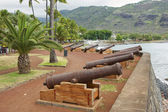 Old cannons at the sea side of the Saint-Denis De La Reunion, capital of the French overseas region and department of Reunion. — Stock Photo