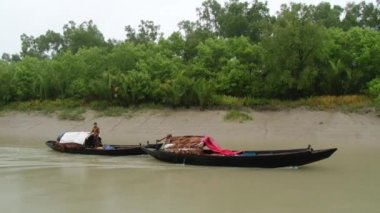 Fishermen ride motorboats by one of the channels of Sundarbans National park. — Stock Video