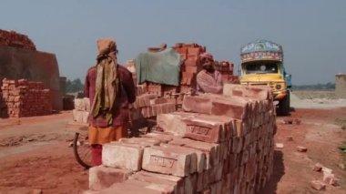 People stack bricks at the brick factory in Dhaka, Bangladesh. — Stock Video