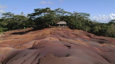People enjoy the view to the Chamarel Seven Colored Earths in Chamarel, Mauritius. — Stock Video
