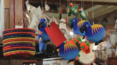 Exterior of the wooden dodo birds located at the workshop in Curepipe, Mauritius. — Stock Video