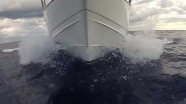 View to the waves below the fishing boat in the Indian ocean near Mauritius island. — Stock Video
