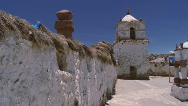 Exterior of the beautiful 17th century church of the Parinacota village in Lauca National Park, Chile. — Vidéo