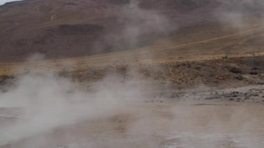Thermal water spring produces hot steam at the El Tatio geyser valley, Chile. — Stock Video