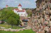 View to the Cathedral of the Theotokos and Gediminas tower with the medieval city wall at the foreground in Vilnius, Lithuania. — Stock Photo