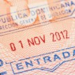 Passport page with Dominican Republic immigration control entry stamp. — Stock Photo #73852053