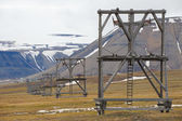 View to the abandoned arctic coal mine equipment in Longyearbyen, Norway. — Stock Photo