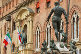 View to the Neptune fountain in Bologna, Italy. — Stock Photo