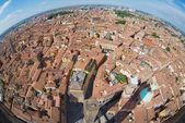 View from the top of Asinelli tower with a fish eye lens to Bologna, Italy. — Stock Photo