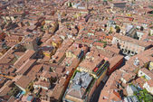 Aerial view to the historical center of the Bologna city, Italy. — Stock Photo