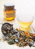 Herbal tea with honey — Stock Photo