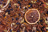 Rooibos tea with orange slice at the right — Stock Photo