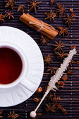 Winter cosy cup with rooibos tea and sugar stick — Stock Photo