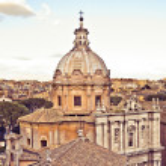 View of Rome and dome of church from Palazzo Senatorio in retro style — Stock Photo #69657119