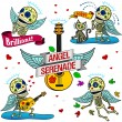 Funny skeletons. Angel Serenade. — Stock Vector #62648987