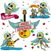 Funny skeletons. Angel Serenade. — Stockvector
