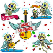 Funny skeletons. Angel Serenade. — Vector de stock